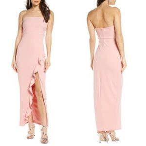 Lulus After Hours Strapless Ruffle Crepe Gown XS